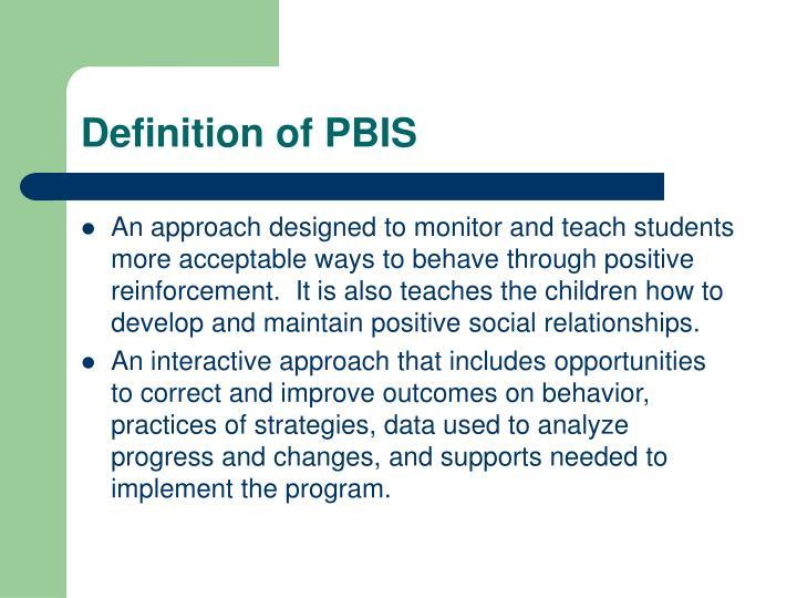 Definition of PBIS