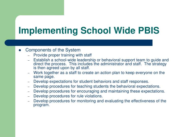 Implementing School Wide PBIS