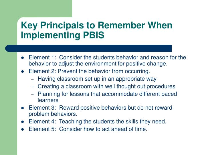 Key Principals to Remember When Implementing PBIS