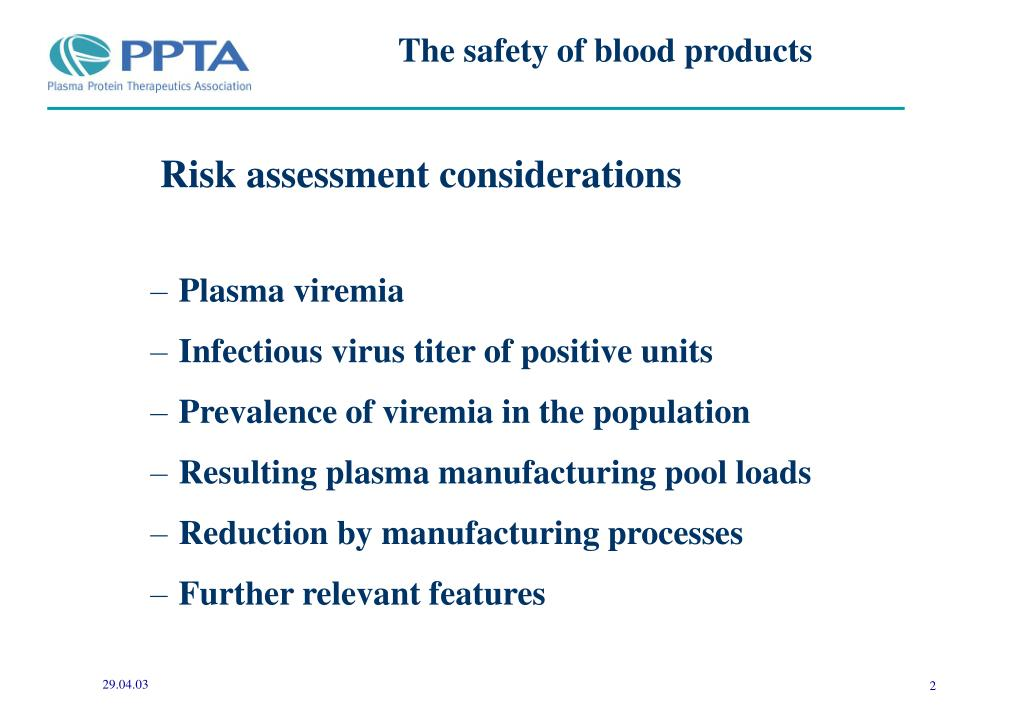 The safety of blood products