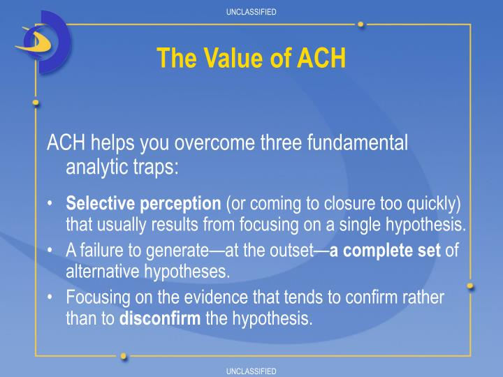 ACH helps you overcome three fundamental     analytic traps: