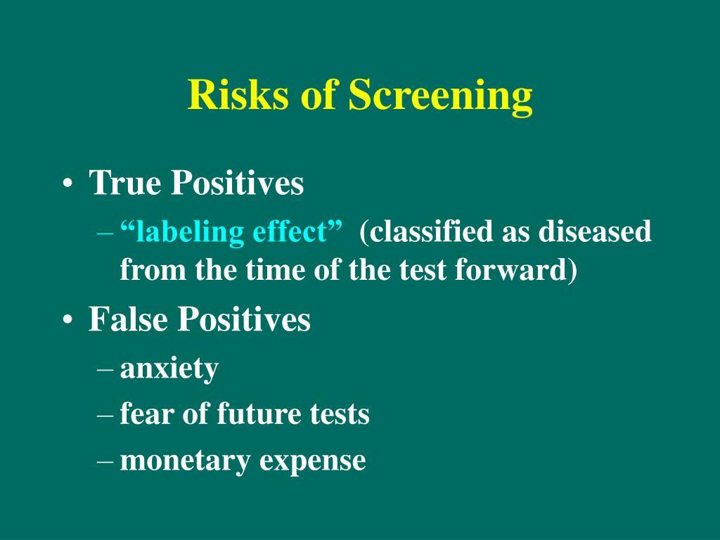 Risks of Screening