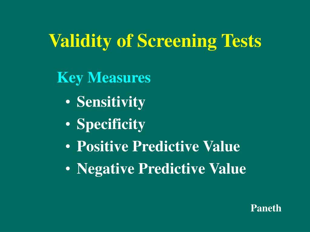 Validity of Screening Tests