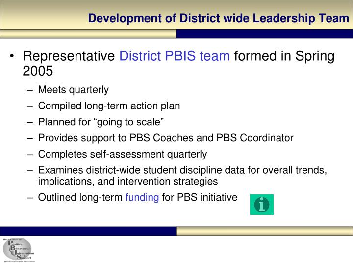 Development of District wide Leadership Team