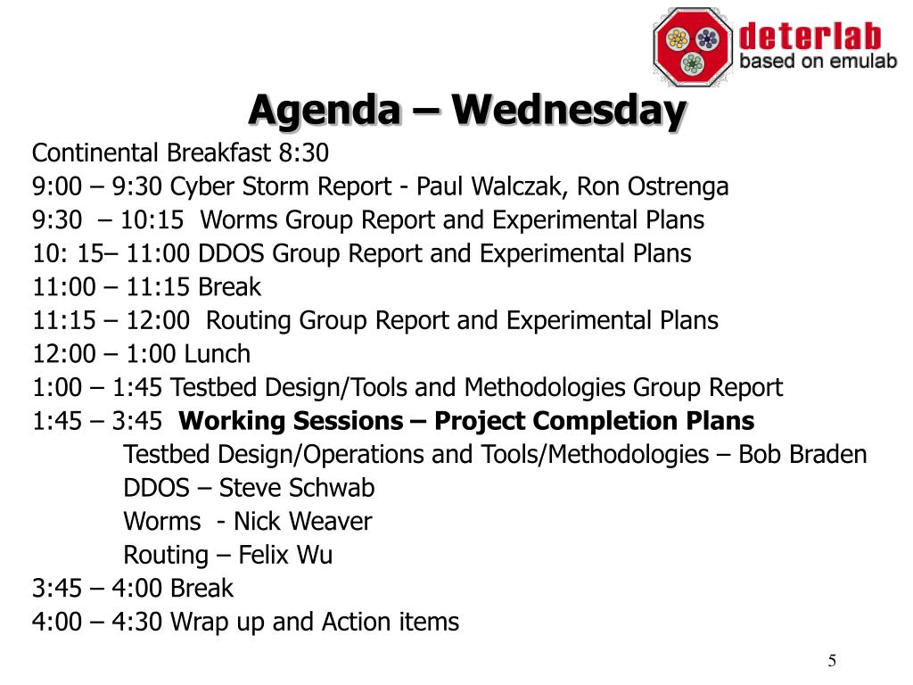 Agenda – Wednesday