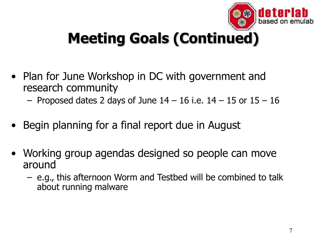 Meeting Goals (Continued)