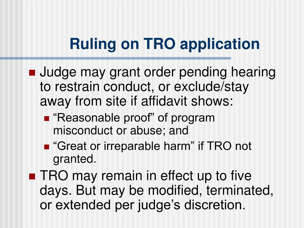 Ruling on TRO application