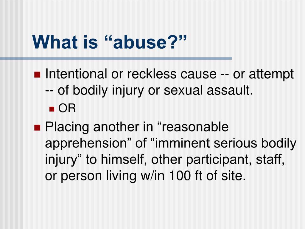 "What is ""abuse?"""