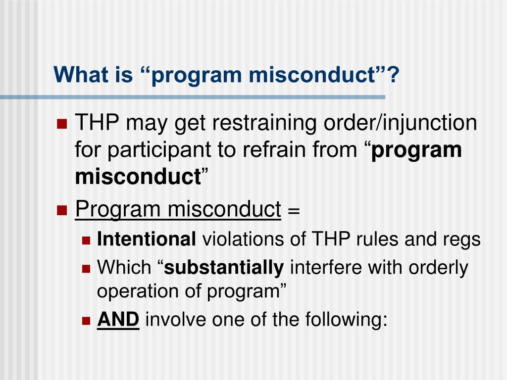 "What is ""program misconduct""?"
