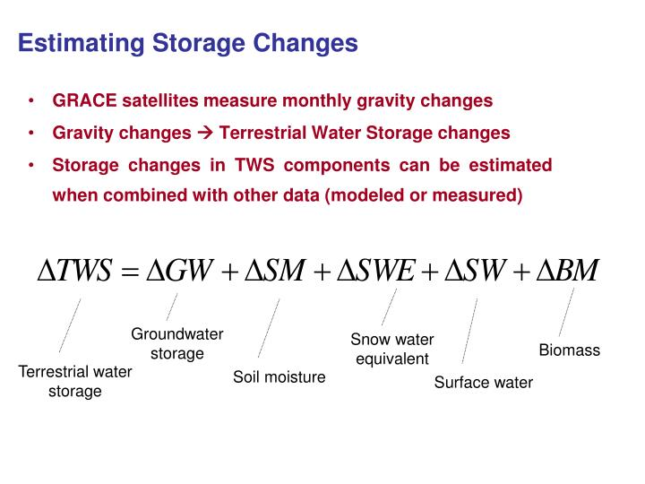 Estimating Storage Changes