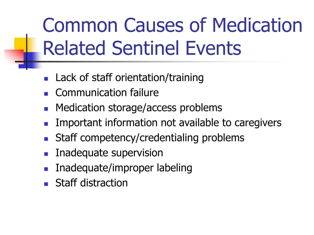 Common Causes of Medication Related Sentinel Events