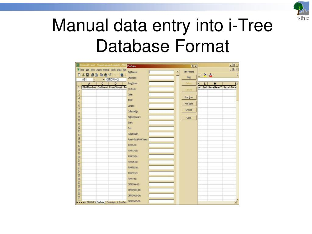 Manual data entry into i-Tree Database Format