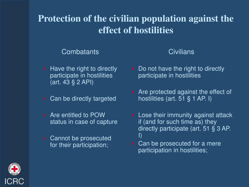 Protection of the civilian population against the effect of hostilities