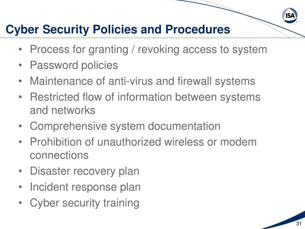 Cyber Security Policies and Procedures