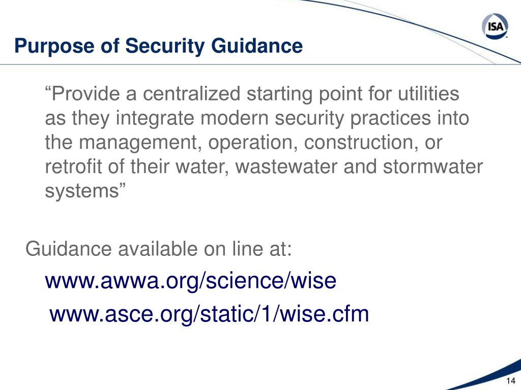 Purpose of Security Guidance