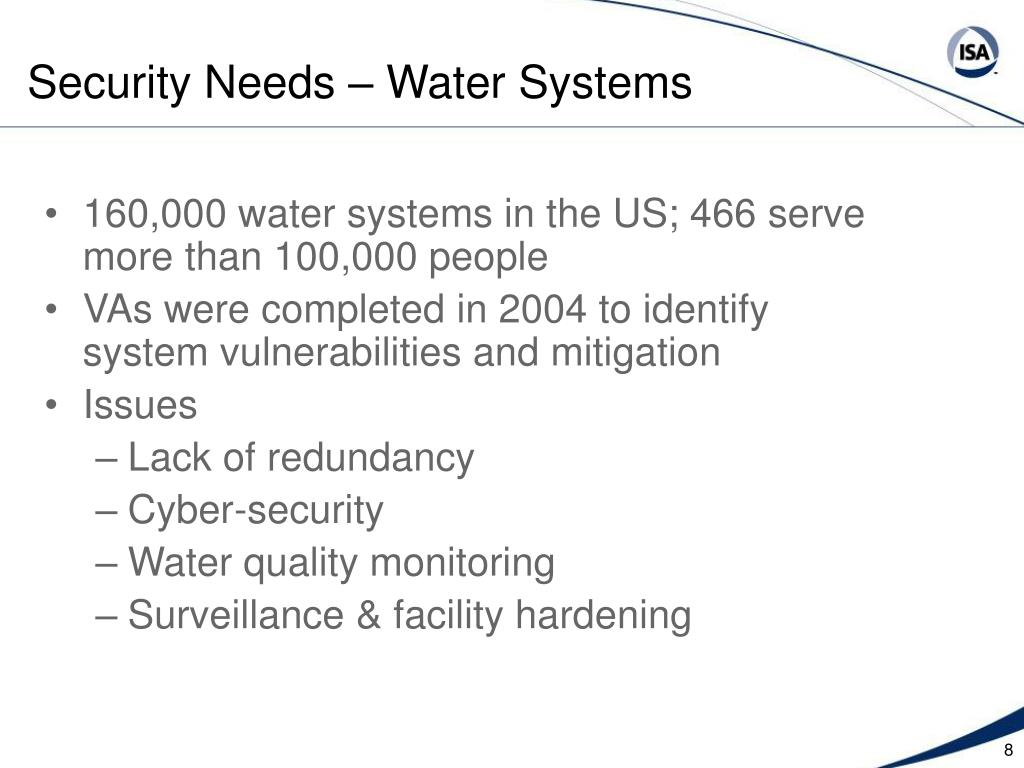 Security Needs – Water Systems