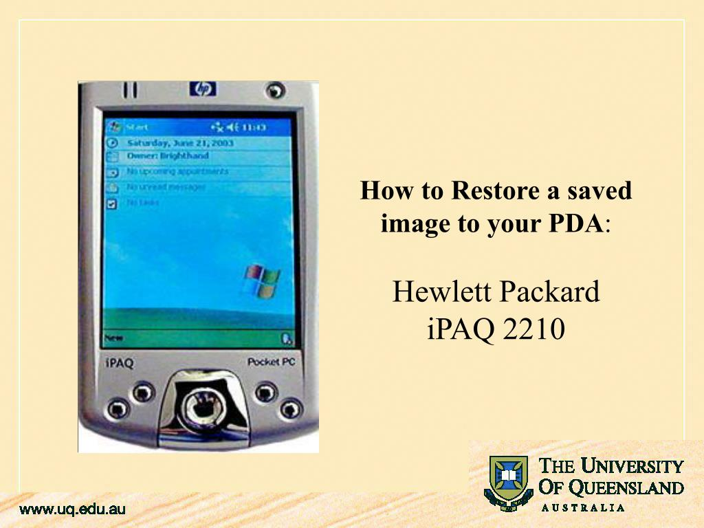 How to Restore a saved image to your PDA