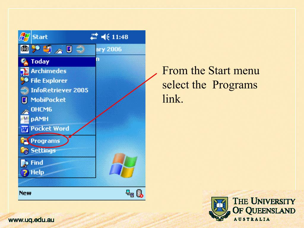 From the Start menu select the  Programs link.