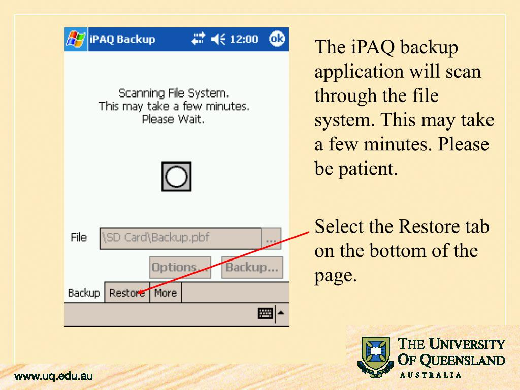 The iPAQ backup application will scan
