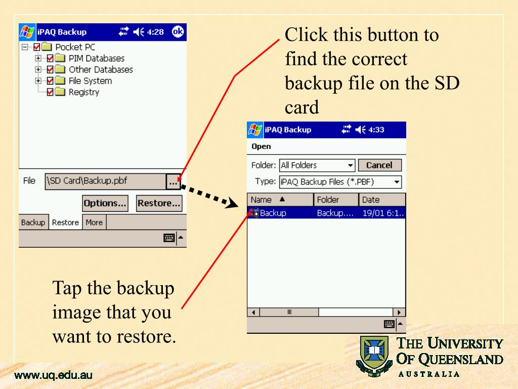 Click this button to find the correct backup file on the SD card
