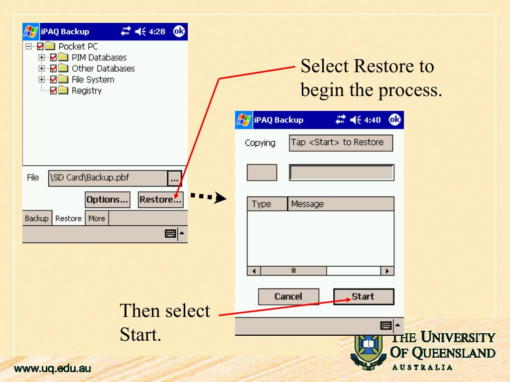 Select Restore to begin the process.