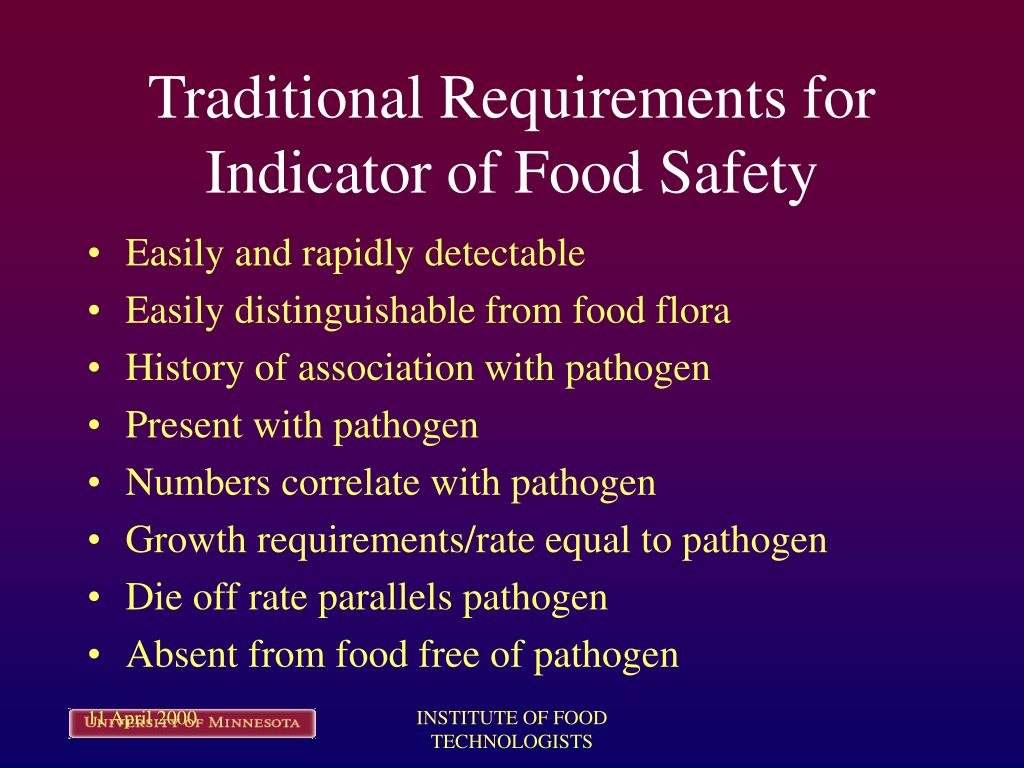 Traditional Requirements for Indicator of Food Safety