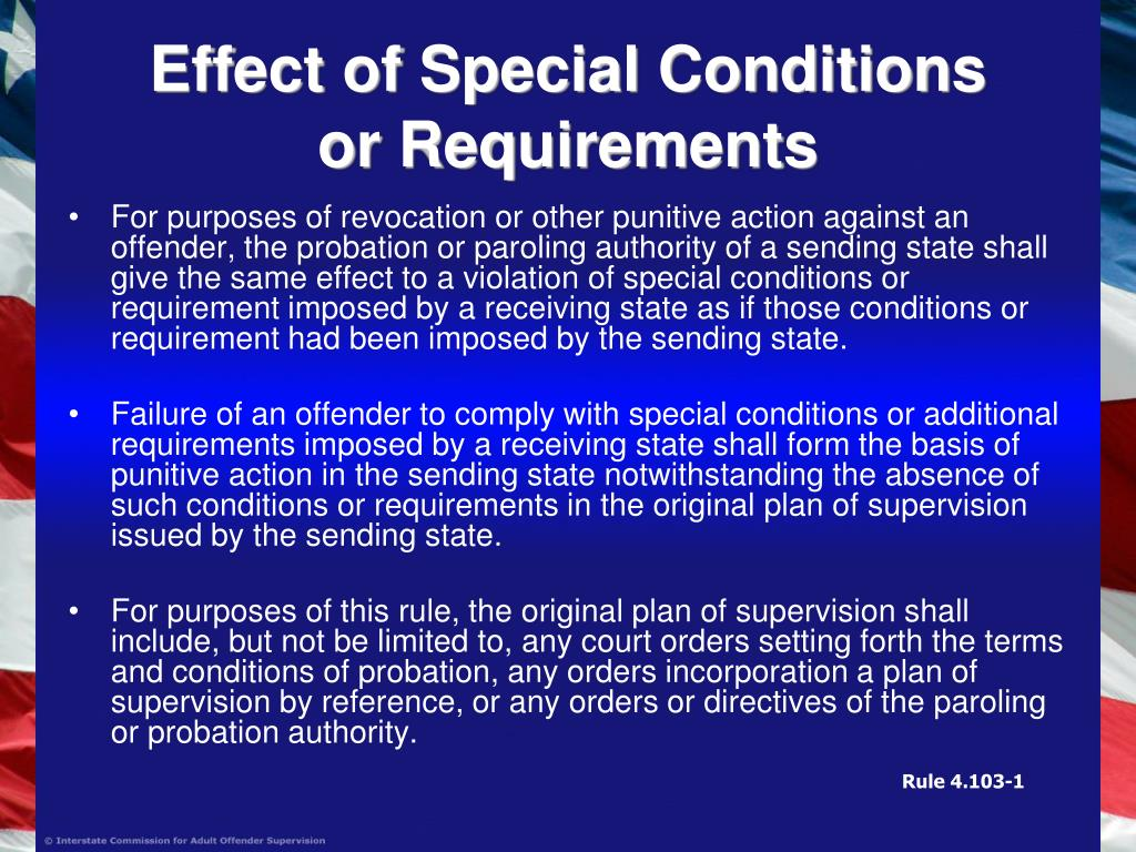 Effect of Special Conditions