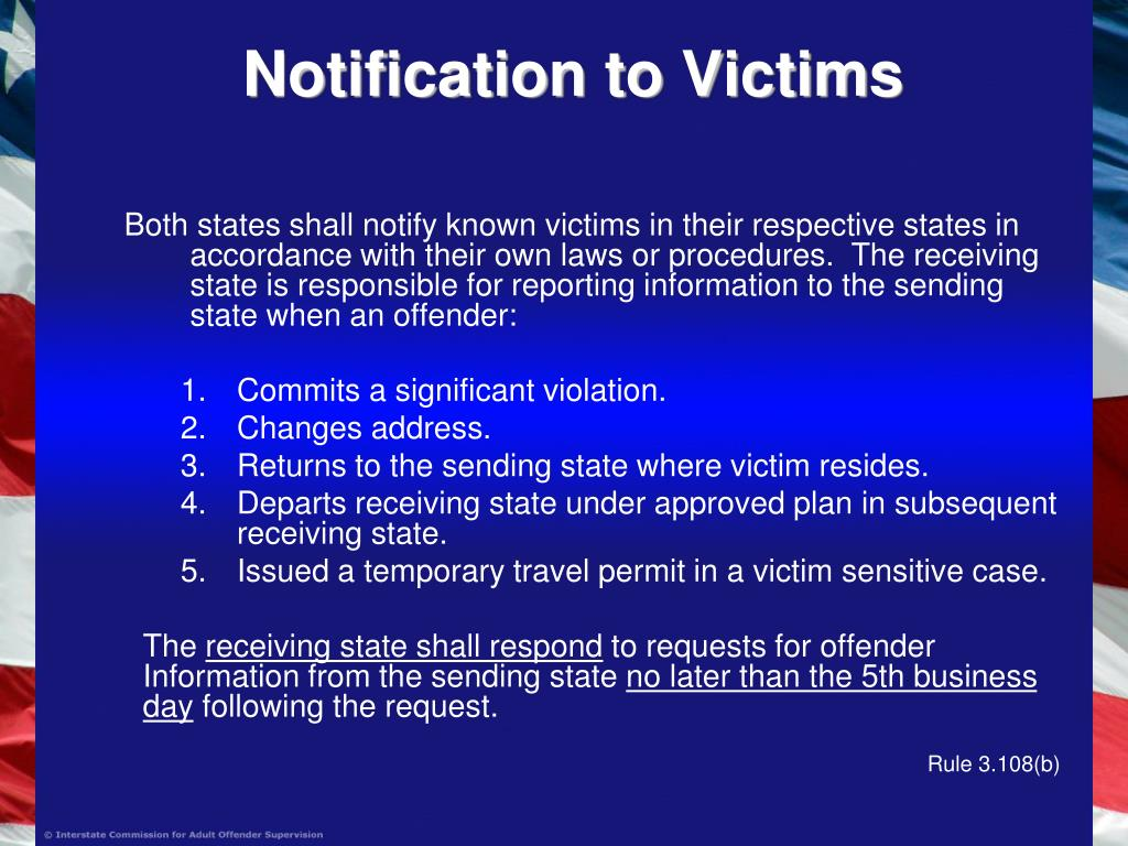 Notification to Victims