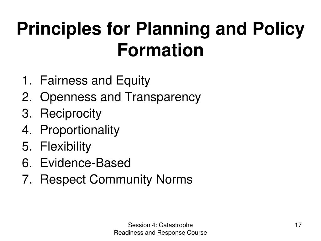 Principles for Planning and Policy Formation