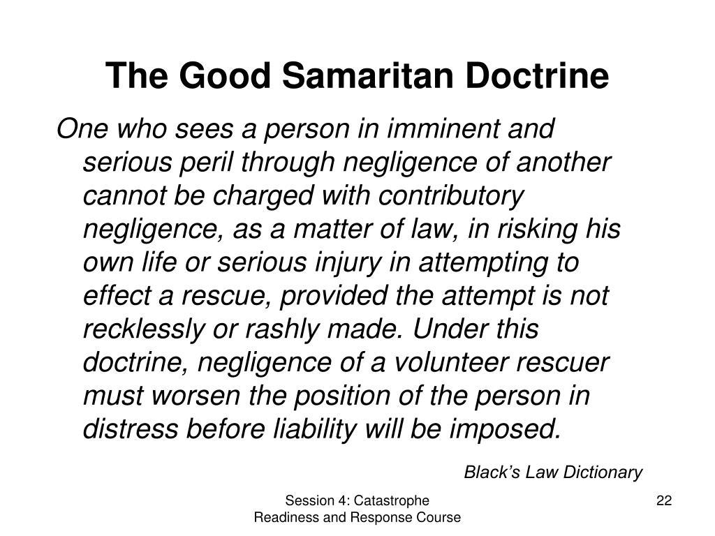 The Good Samaritan Doctrine