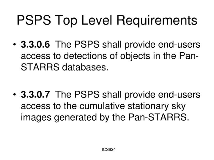 PSPS Top Level Requirements