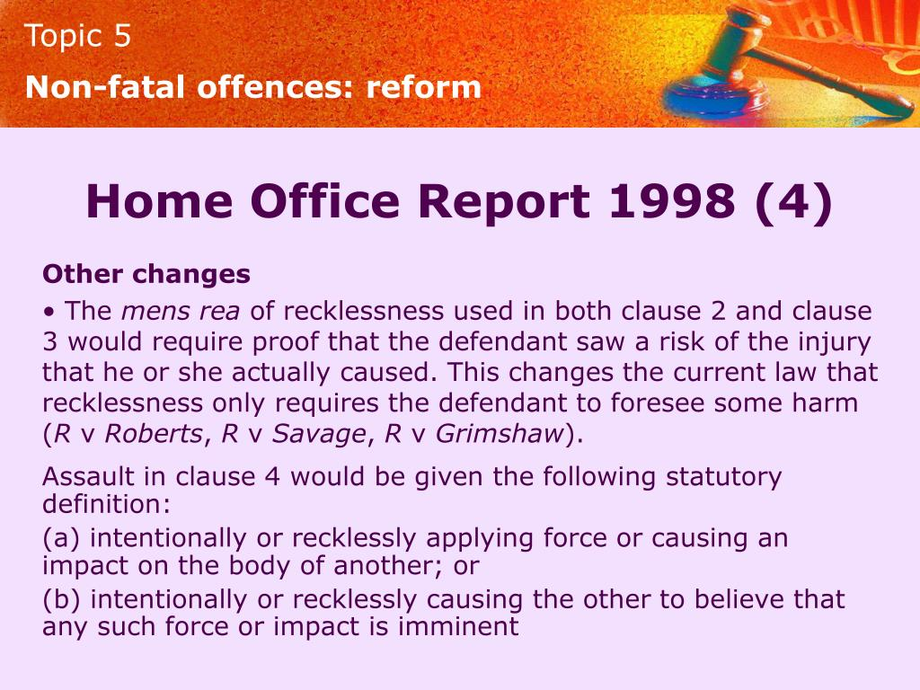 Non-fatal offences: reform