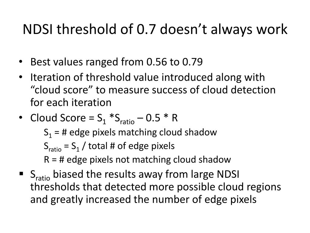 NDSI threshold of 0.7 doesn't always work