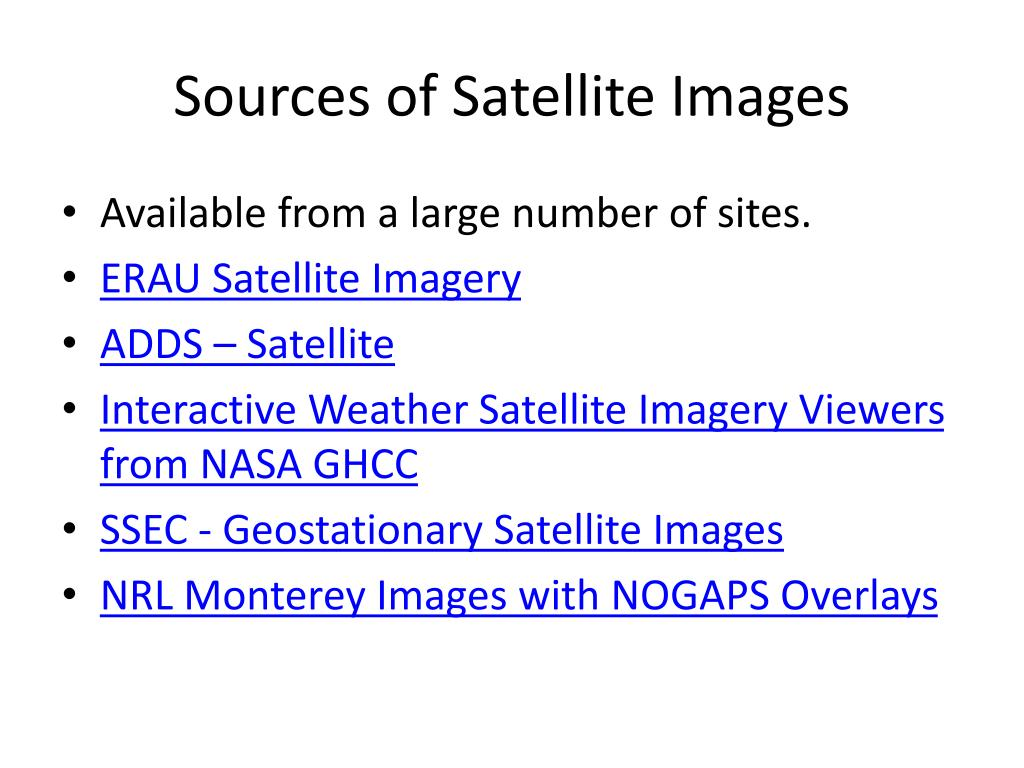 Sources of Satellite Images