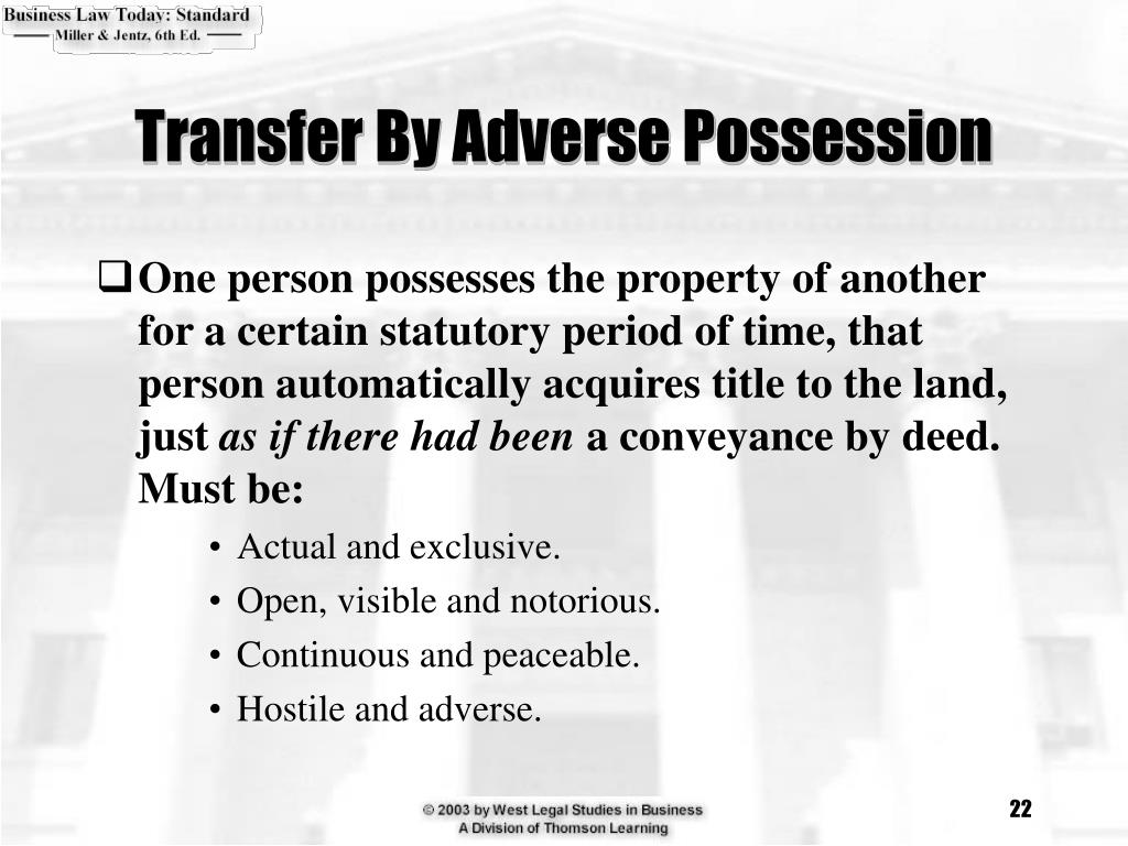 Transfer By Adverse Possession