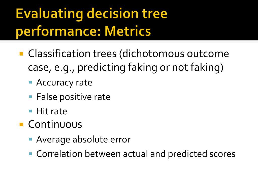 Evaluating decision tree performance: Metrics