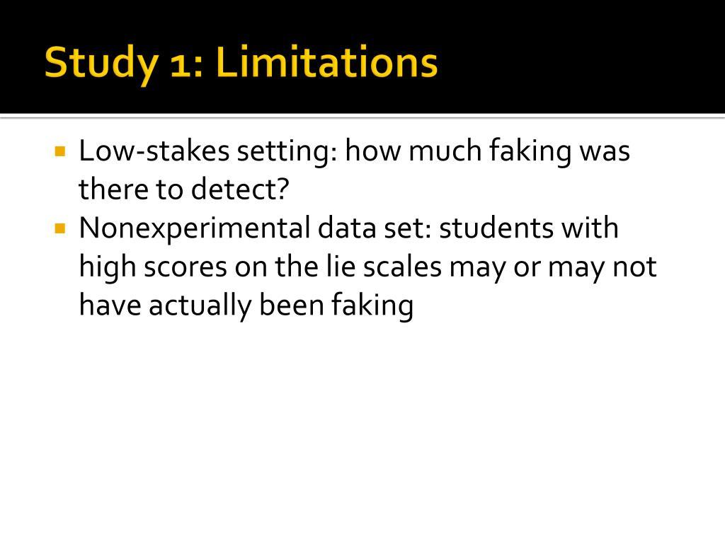 Study 1: Limitations