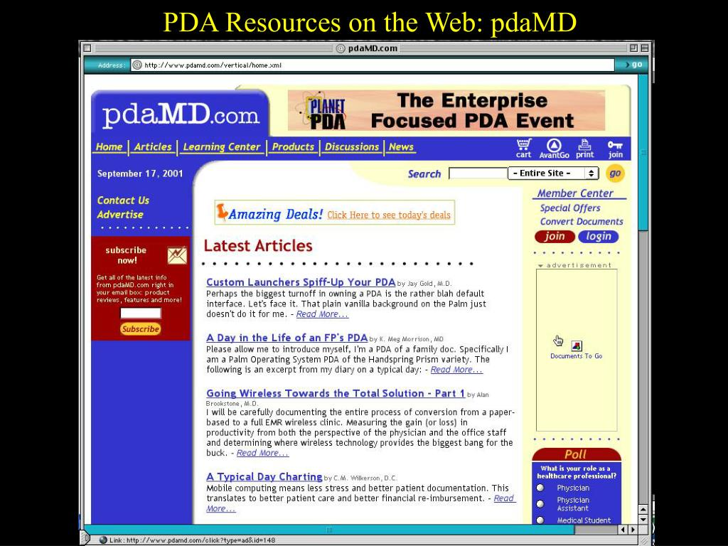 PDA Resources on the Web: pdaMD