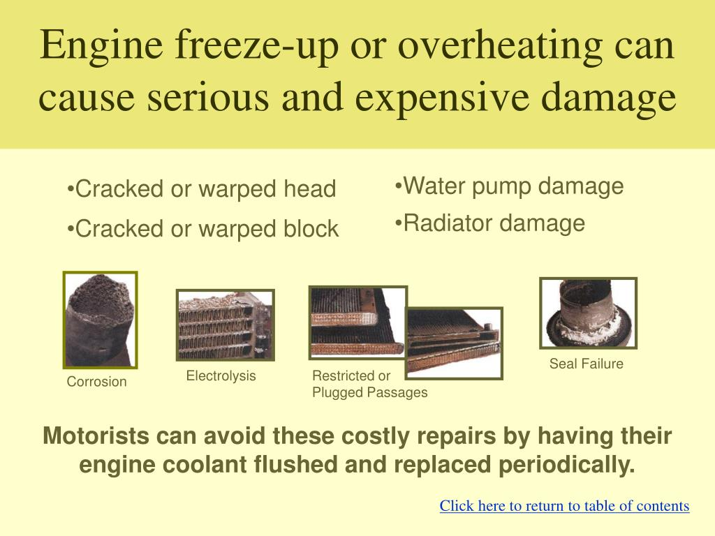 Engine freeze-up or overheating can cause serious and expensive damage