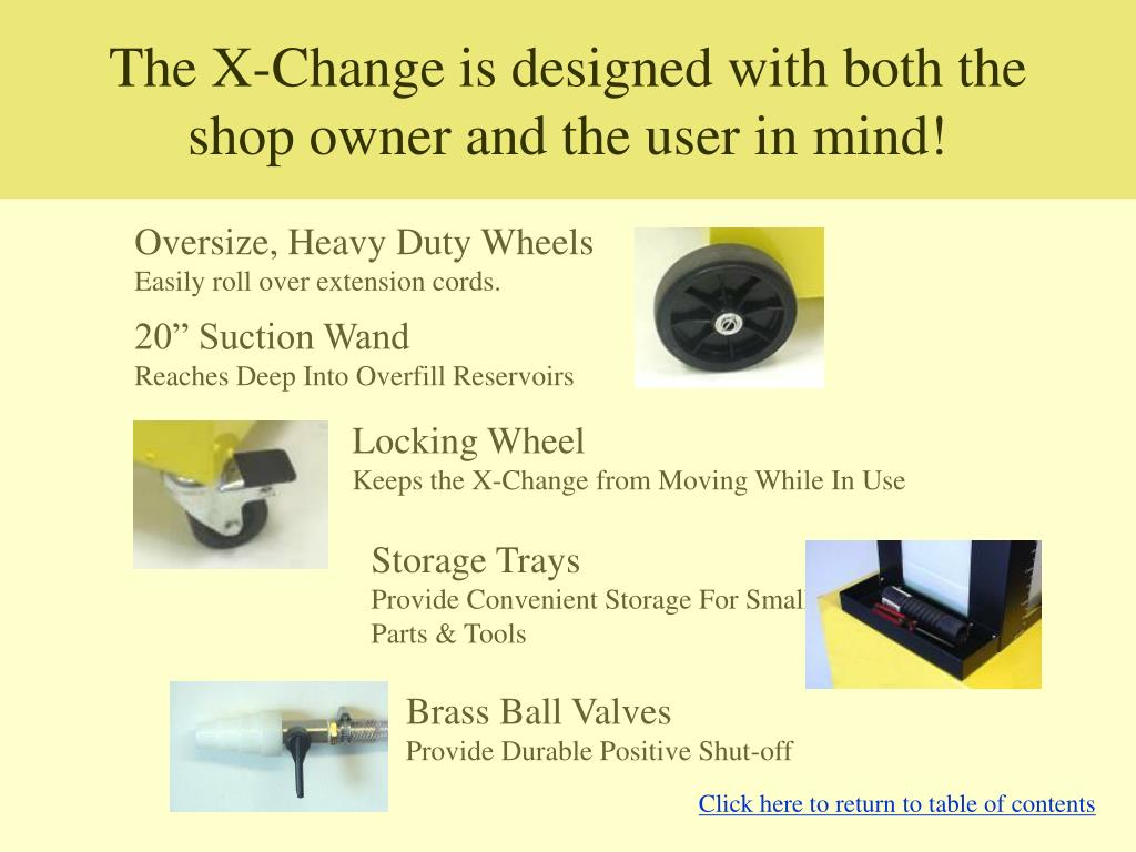 The X-Change is designed with both the shop owner and the user in mind!