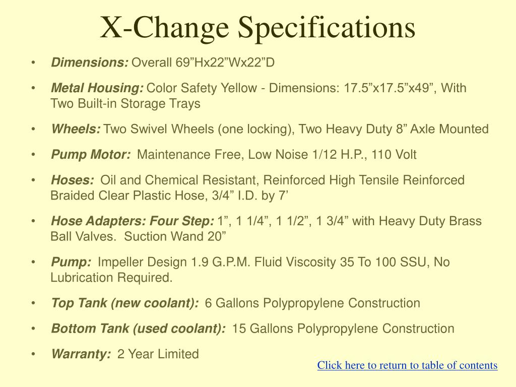 X-Change Specifications