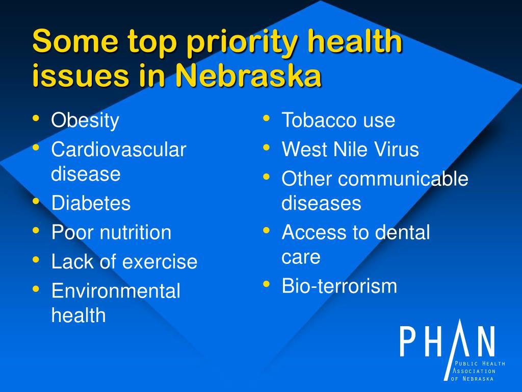 Some top priority health issues in Nebraska