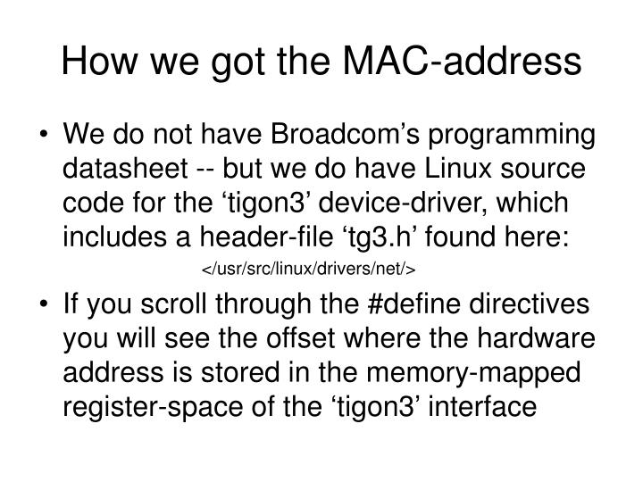 How we got the MAC-address