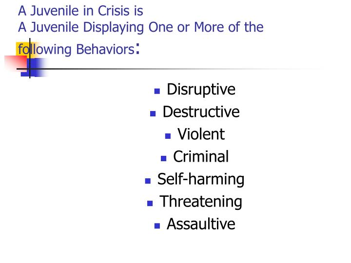 A Juvenile in Crisis is