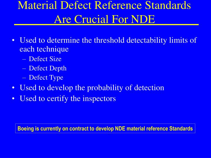 Material Defect Reference Standards Are Crucial For NDE