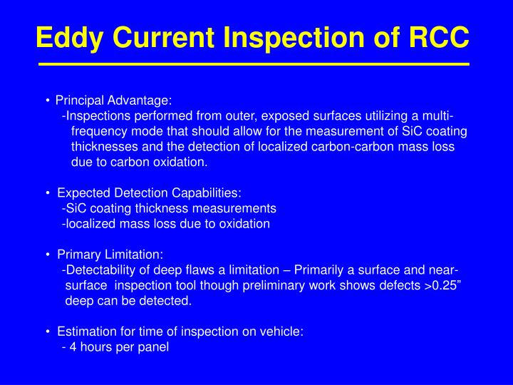 Eddy Current Inspection of RCC