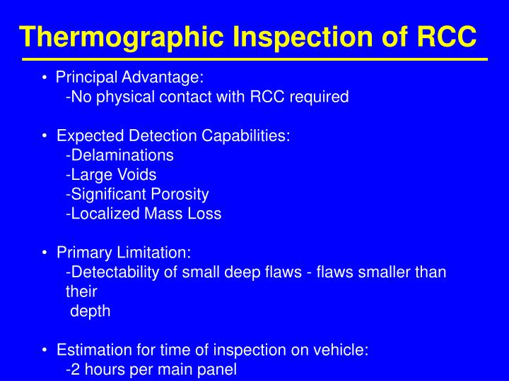 Thermographic Inspection of RCC