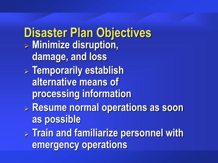 Disaster Plan Objectives