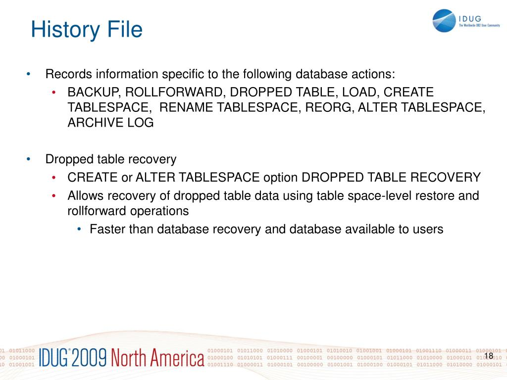 Records information specific to the following database actions: