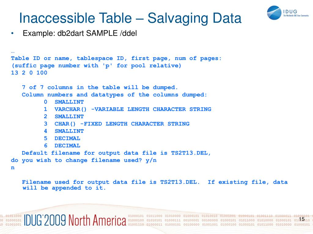 Example: db2dart SAMPLE /ddel